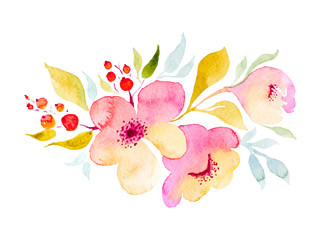 Abstract composition with flowers in watercolor