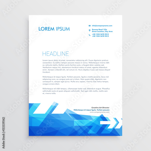 Abstract letterhead template in blue arrow style stock image and abstract letterhead template in blue arrow style spiritdancerdesigns Gallery