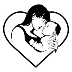 Silhouette of a mother and her child. Mothers day