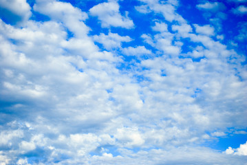 blue, summer, spring, sky with beautiful, fluffy white clouds