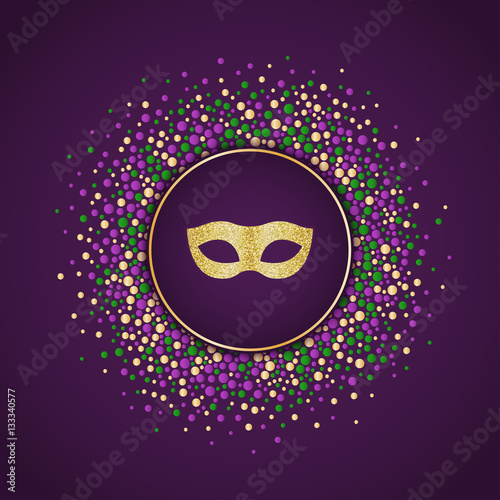 Mardi Gras holiday background. Round dotted frame with golden glitter mask. Vector template suitable for greeting cards, invitations, posters, prints.