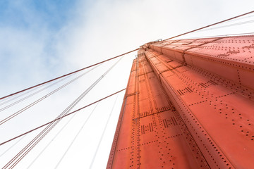 Golden Gate Bridge arch closeup bottom view
