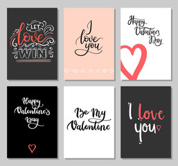 Valentines Day Cards with Modern Calligraphy Inscription. Set of Hand Lettering Greeting Cards. Valentines Day Gift Tags.   Vector Illustration