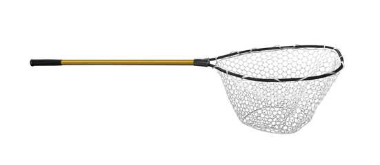 Fishing Landing net isolated on white