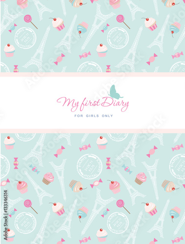 Cute template for notebook cover for girls. My first Diary. Included ...