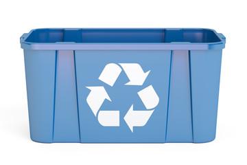 Blue recycling bin, 3D rendering