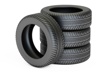 Stack of automobile tires, 3D rendering