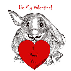 Valentines Day card with rabbit holding red heart. I need you