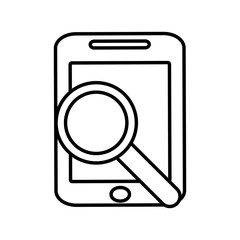 smartphone search screen technology gadget line vector illustration eps 10
