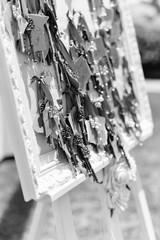 Designing wedding board with keys
