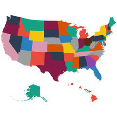 Set of US state maps on a white background