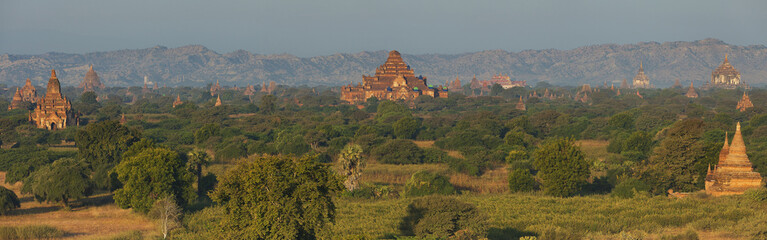 Panorama of all the temples in Bagan, Myanmar at sunrise
