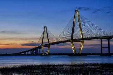 Arthur Ravenel Bridge, Charleston South Carolina, twilight scenic