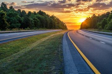 Summer sunset over interstate Wall mural