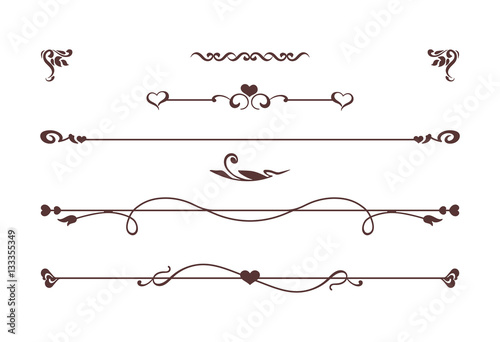 Vintage Dividers Border With Roses Flowers Love Symbols Vector