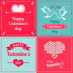 Saint Valentines vintage vector design. Heart, dove, ribbon with text
