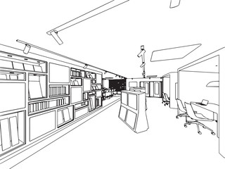 interior showroom offfice outline drawing sketch