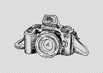 Photo camera . hand drawing illustration.