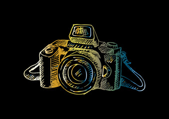 Photo camera . hand drawing illustration.
