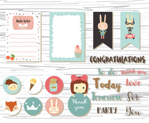 Cute note and sticker with girl,fox,crown and rabbit
