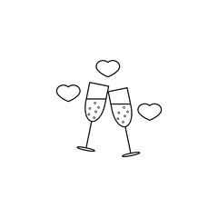 Clinking champagne glasses with hearts line icon, stemware and wineglasses , vector graphics, a linear pattern on a white background, eps 10.