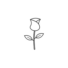 Rose flower for Valentine's day line icon, for love and 8 march, vector graphics, a linear pattern on a white background, eps 10.