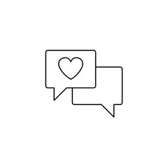Love chat line icon, heart in speech bubble, vector graphics, a linear pattern on a white background, eps 10.