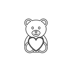 Teddy bear wtih heart line icon, soft toy for Valentine's day, vector graphics, a linear pattern on a white background, eps 10.