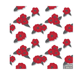 Red Camellia with black leaves on a white background. Vector seamless pattern