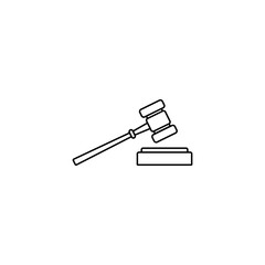 Judge gavel line icon, auction hammer sign, vector graphics, a linear pattern on a white background, eps 10.