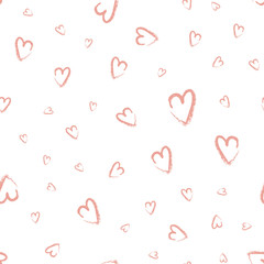 Seamless hand drawn hearts. Vector illustration