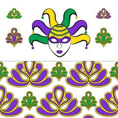 Template greeting card or invitation on Fat Tuesday. Women's mask and decorative elements of Mardi Gras, and seamless pattern. Vector illustration.