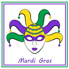 Vector illustration of Mardi Gras or Shrove Tuesday with women's mask.