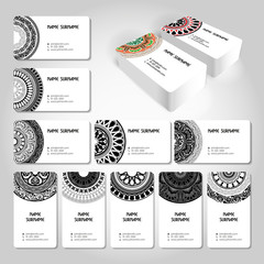 Abstract creative simple light business card template with ornamental pattern. Editable vector illustration. Ready to print.
