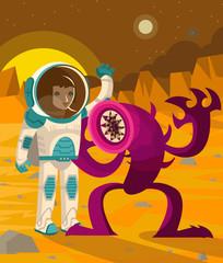 dangerous alien worm lamprey and astronaut on mars