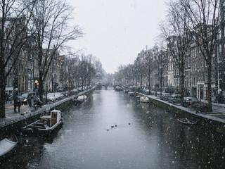Amsterdam in a snowy day