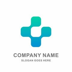 Medical Pharmacy Geometric Cross Data Link Connection Hospital Clinic Business Company Stock Vector Logo Design Template