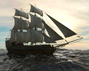 Fotobehang Schip Sailboat On The Sea 3D Illustration