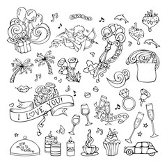 Vector set of doodles love icons.