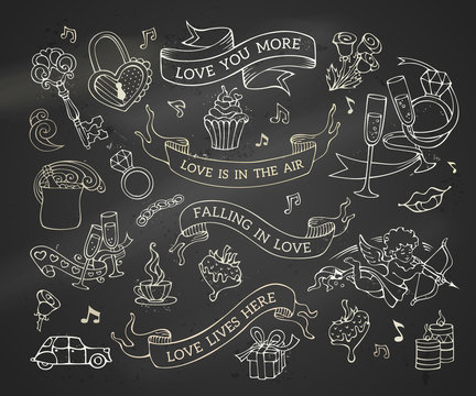 Vector set of chalk Valentine's icons, signs and symbols.