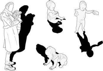 mother and baby sketches set isolated on white