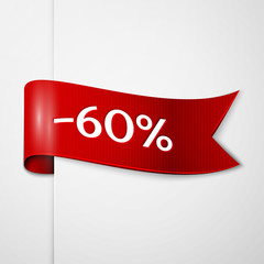 Red ribbon with inscription 60 percent discounts on grey background. Vector illustration.