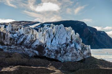 Arctic landscape with glacier in Svalbard, Spitsbergen