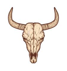 Bull skull native Americans tribal style. Tattoo blackwork. Vector illustration