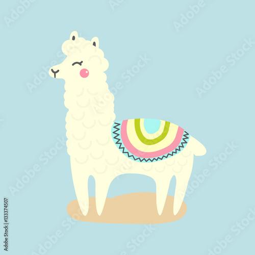 """Vector cute llama or alpaca illustration. Funny animal ..."
