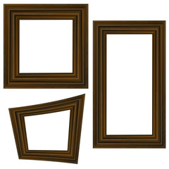 Set of Different Wooden Frames Isolated on White Background