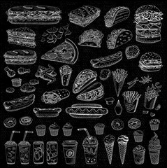 Big vector set, fast food. Sketch style. Hamburger, taco, burrito, chicken, potato, fries, sandwich, coffee, lemonade, ice cream, hot dog, ketchup, mustard, soda, beer. Hand drawn, blackboard.