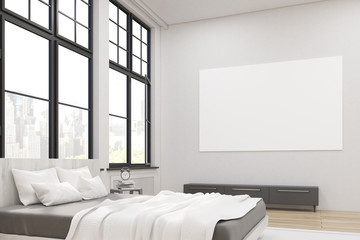 Side view of a master bedroom with a bed, a set of drawers and a large horizontal poster hanging above it. Large windows. 3d rendering. Mock up.