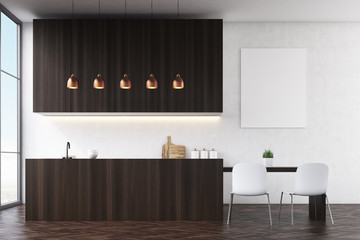 Side view of a kitchen with black walls, dark wooden furniture and white chairs near a dining table. There is a poster and large windows. 3d rendering. Mock up.