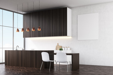 Kitchen with white walls, dark wooden counters and white chairs near a dining table. There is a poster and large windows. Side view. 3d rendering. Mock up.